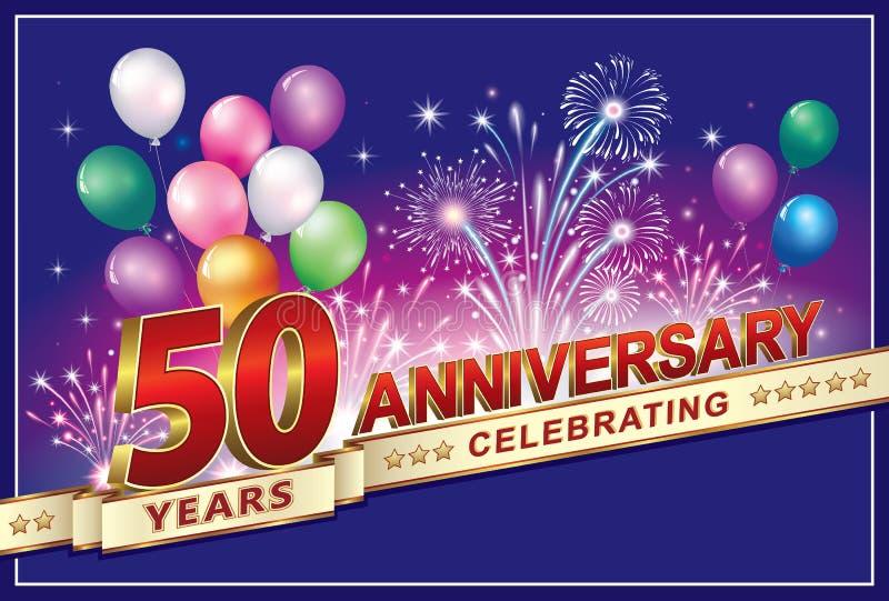 Fira årsdagen 50 år vektor illustrationer