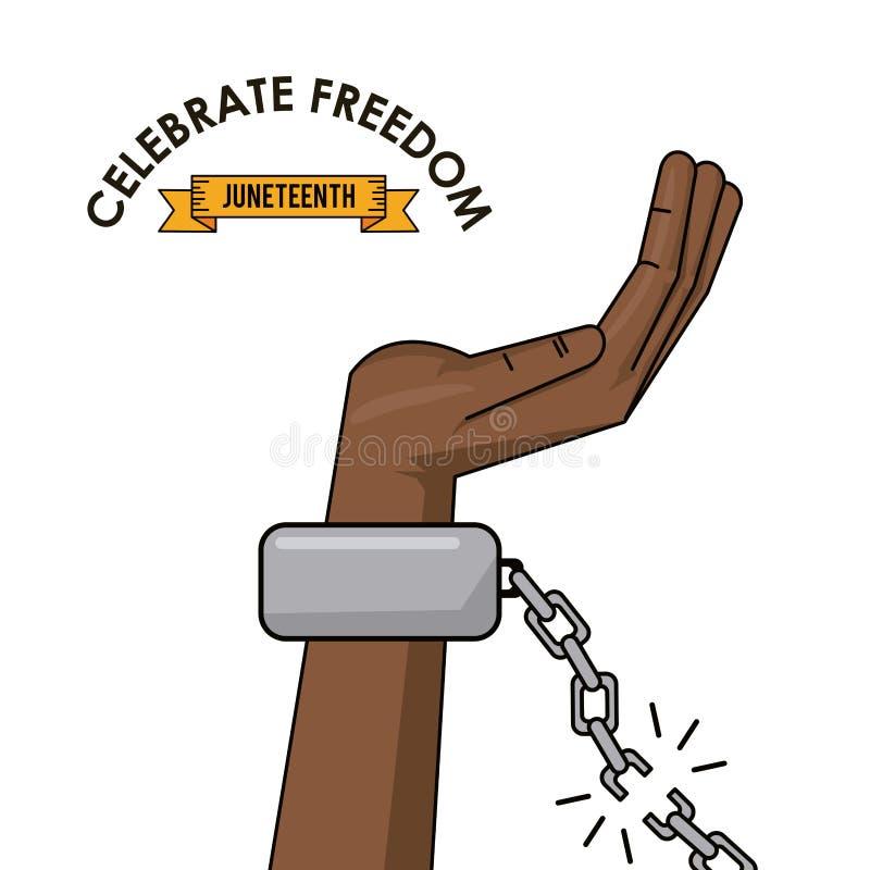 Fira aktionen för frihet för kedjan för frihetsjuneteenthhanden den brutna royaltyfri illustrationer