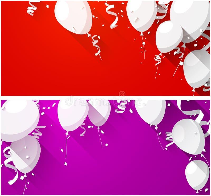 Fira bakgrunder med plana ballonger royaltyfri illustrationer