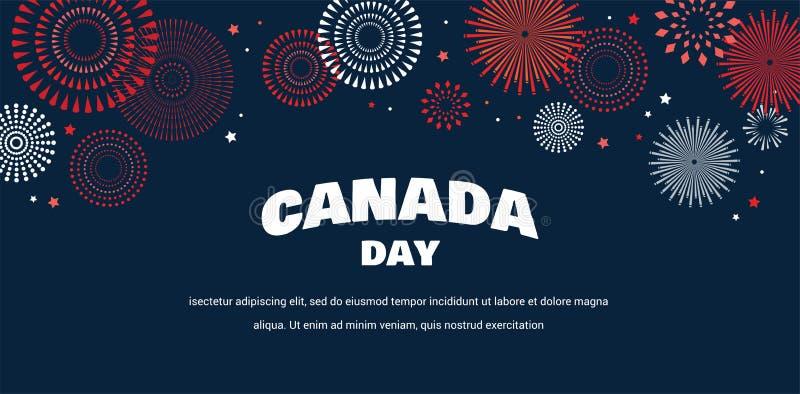 Fira banret av den nationella dagen av Kanada Lyckligt självständighetsdagenkort stock illustrationer