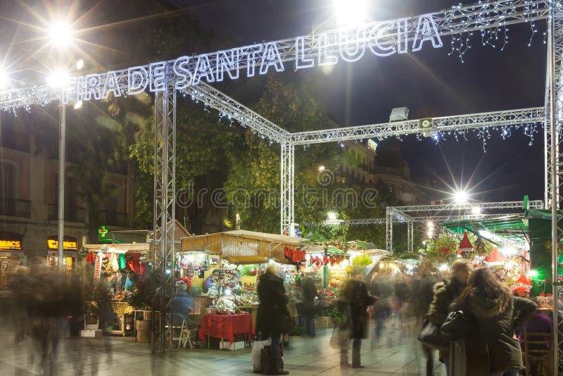 Fira de Santa Llucia - αγορά Χριστουγέννων κοντά στον καθεδρικό ναό. Barcelon στοκ φωτογραφία με δικαίωμα ελεύθερης χρήσης