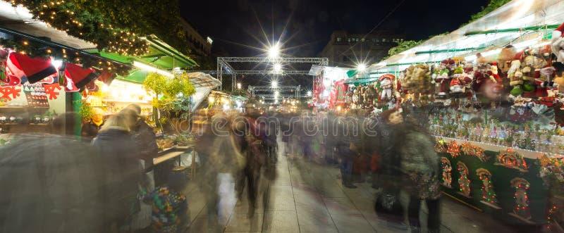 Fira de Santa Llucia - Christmas market near Cathedral in Barce stock photos