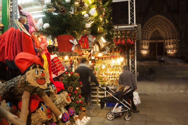 Fira de Santa Llucia - Christmas market near Cathedral stock photos