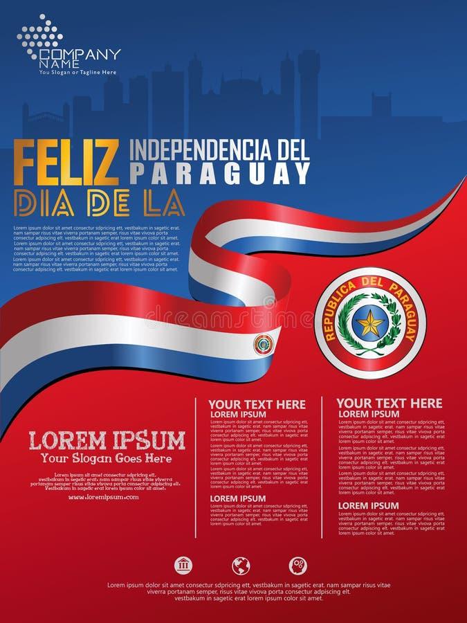 Fira den Paraguay självständighetsdagen Abstrakt vinkande flagga på affisch-, flayer- och broschyrbakgrundsmall vektor illustrationer
