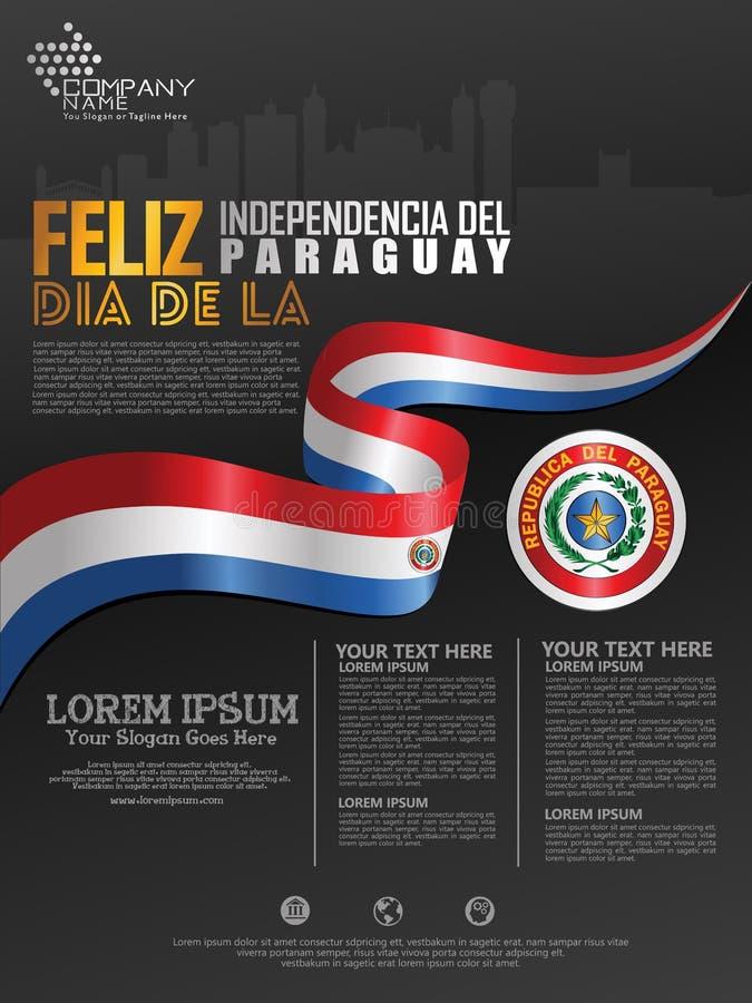 Fira den Paraguay självständighetsdagen Abstrakt vinkande flagga på affisch-, flayer- och broschyrbakgrundsmall stock illustrationer