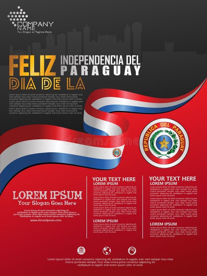 Fira den Paraguay självständighetsdagen Abstrakt vinkande flagga på affisch-, flayer- och broschyrbakgrundsmall royaltyfri illustrationer