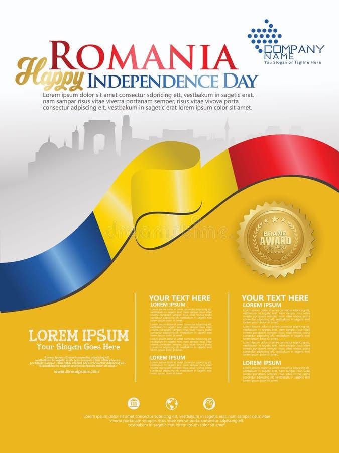 Fira den Rumänien självständighetsdagen Abstrakt vinkande flagga på bakgrundsmall royaltyfri illustrationer