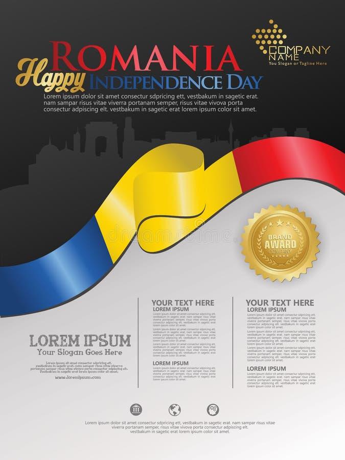 Fira den Rumänien självständighetsdagen Abstrakt vinkande flagga på bakgrundsmall vektor illustrationer
