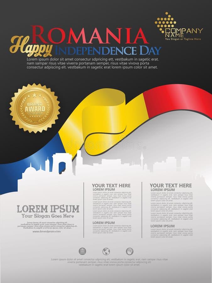 Fira den Rumänien självständighetsdagen Abstrakt vinkande flagga på bakgrundsmall stock illustrationer