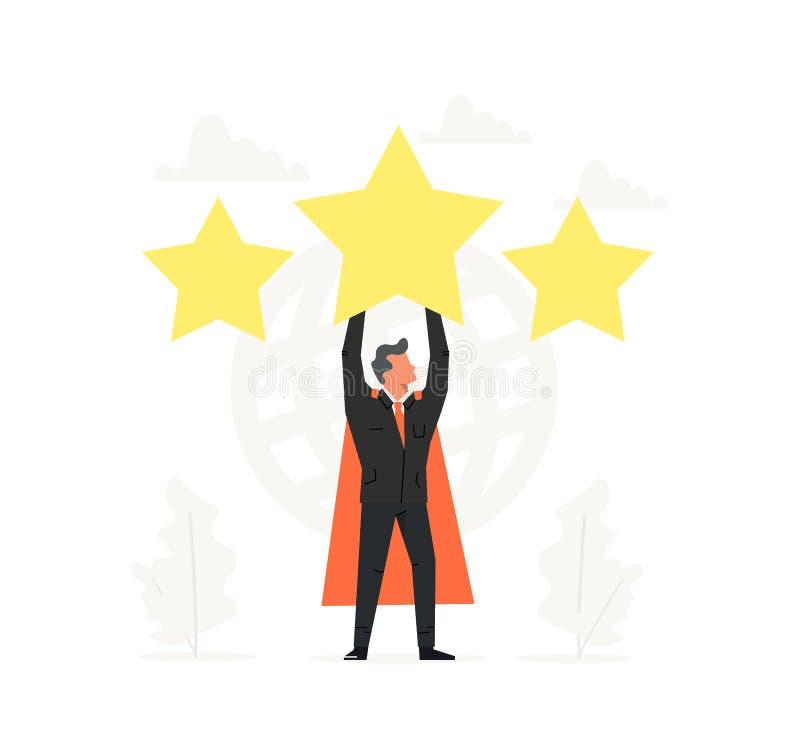 Fira en toppen affärsman rym den stora stjärnan över huvudet Värdering återkoppling, utvärderingssystem, positiv granskning royaltyfri illustrationer