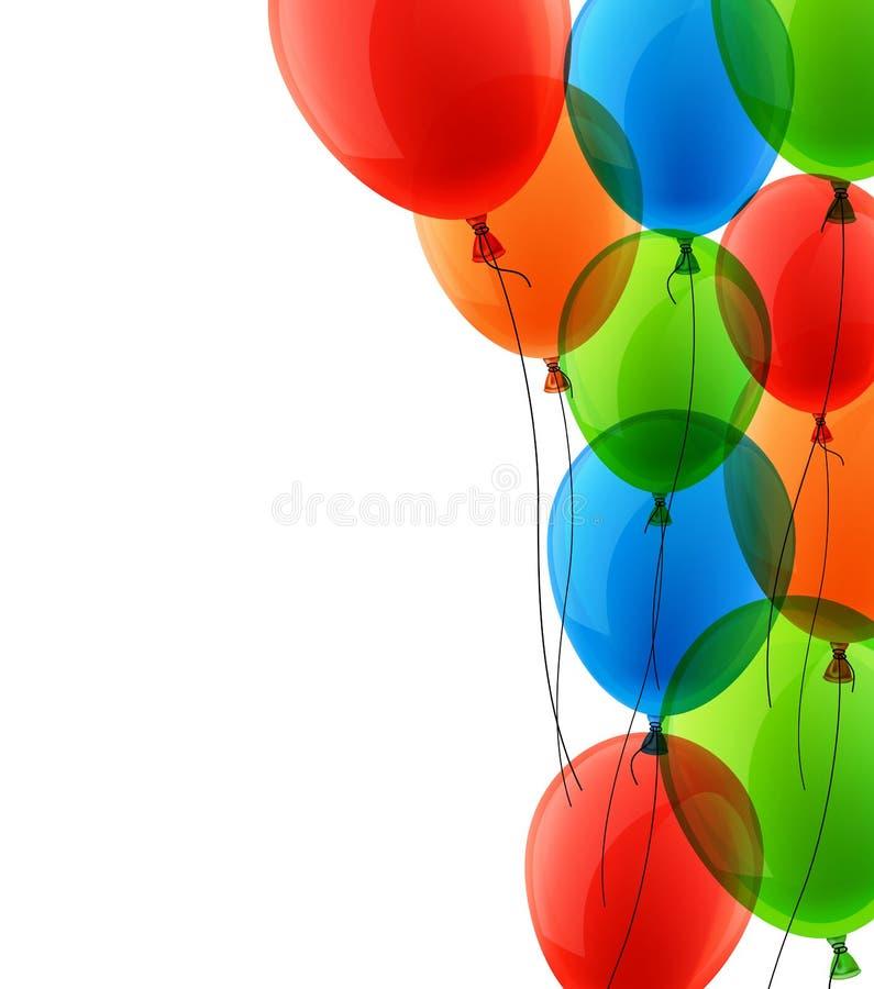 Fira färgrik bakgrund med ballonger royaltyfri illustrationer