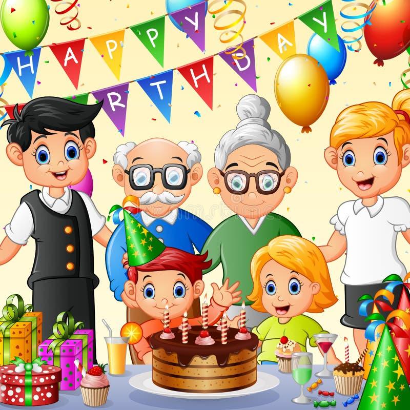 Fira födelsedag för lycklig familj vektor illustrationer