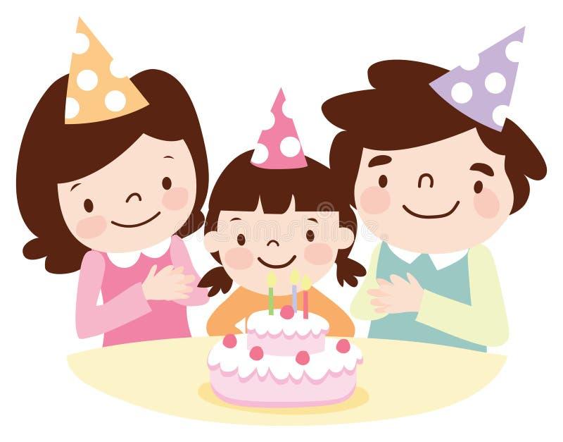 fira familj för födelsedag stock illustrationer
