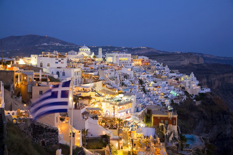 fira greece main santorini town στοκ εικόνα