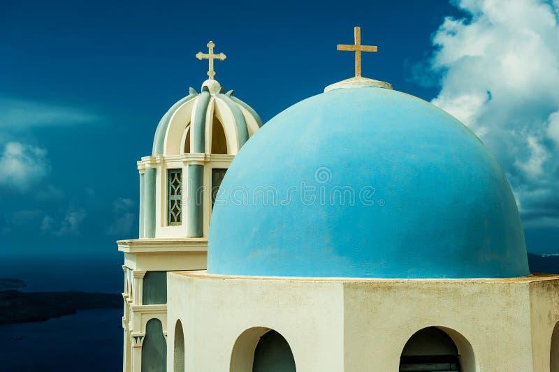 FIRA GREECE-SEPTEMBER, 02,2014: sikt av calderaen i Fira, Santorini royaltyfria bilder