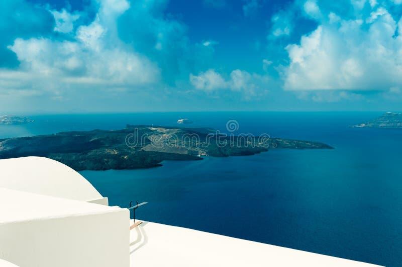 FIRA GREECE-SEPTEMBER, 02,2014: sikt av calderaen i Fira, Santorini royaltyfri bild