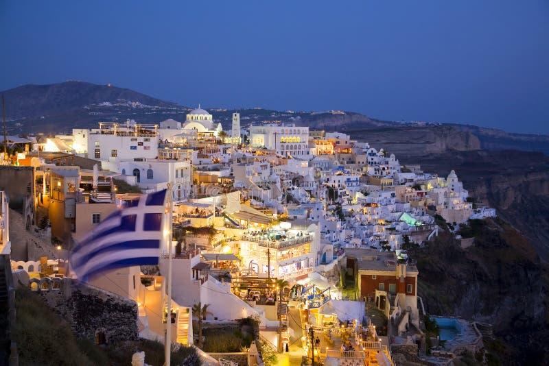 Fira Hauptstadt, Santorini, Griechenland stockbild