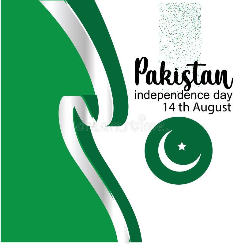 Fira illustrationen för vektor för Pakistan självständighetsdagen den idérika 14th Augusti Pakistan självständighet vektor vektor illustrationer