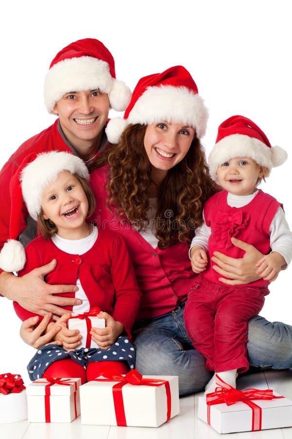 Fira jul för lycklig familj fotografering för bildbyråer