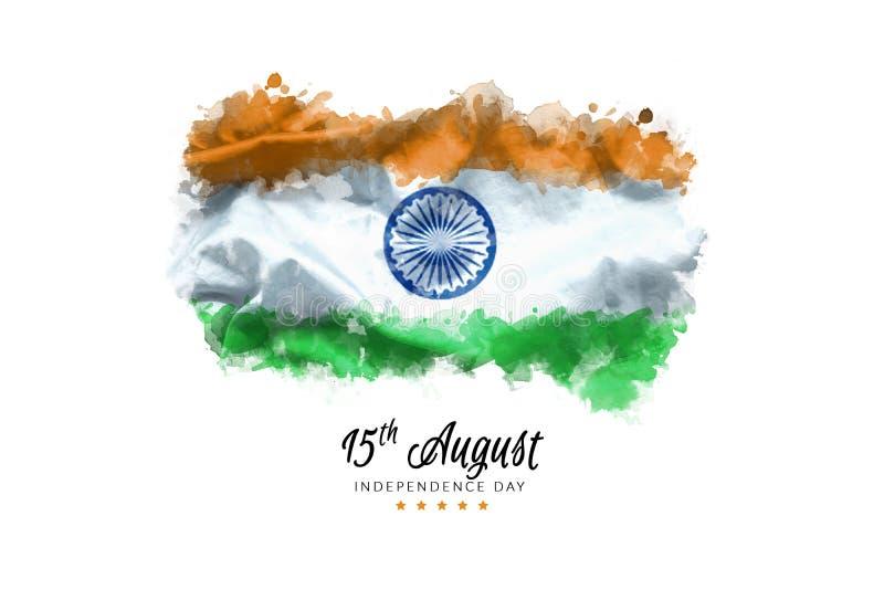 Fira kortet för Indien självständighetsdagenhälsning med indisk vinkande flaggagrunge vid bakgrund för målarfärg för vattenfärg royaltyfri fotografi