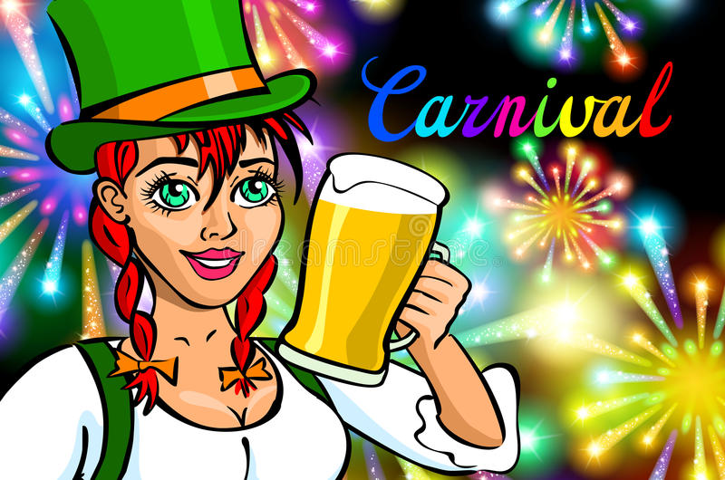 Fira kvinnan Feriefolk Härlig flicka med hållande exponeringsglas för feriemakeup av Champagne Lyckligt och skratta karnevallett vektor illustrationer