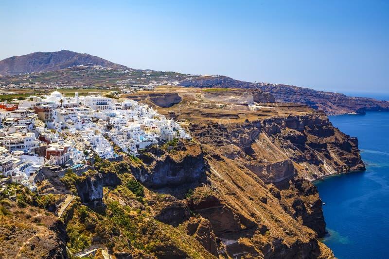 Fira miasteczko na Santorini wyspie, Grecja Niesamowicie romantyczny wschód słońca na Santorini Oia wioska w ranku świetle target obrazy royalty free