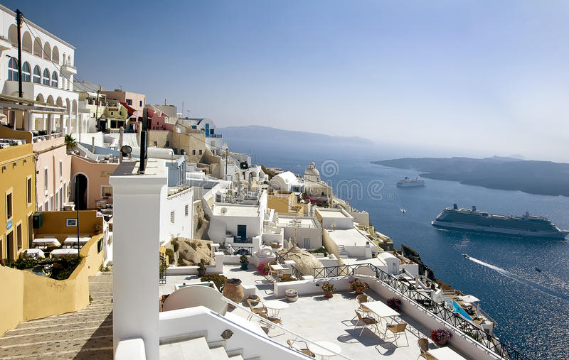 Fira Panorama 2 With Caldera View Royalty Free Stock Photography
