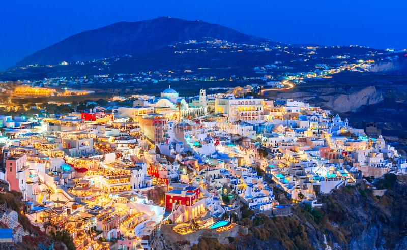 Fira, Santorini island, Greece. Overview of the cliffside town of Thira, Fira with the traditional and famous white royalty free stock photography
