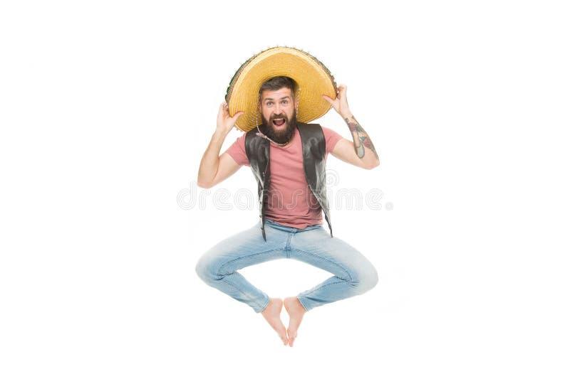 Fira traditionell mexikansk ferie Lycklig gladlynt framsida f?r grabb som har rolig dans och att hoppa Mexicanskt driftigt hum?r fotografering för bildbyråer