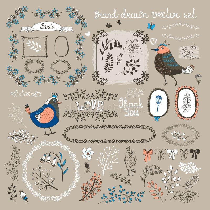 Firds, ramitas y flores stock de ilustración