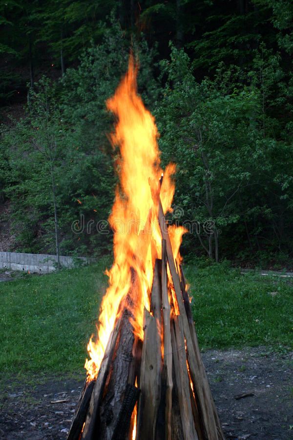 Fire. A outside fire in summer stock photos