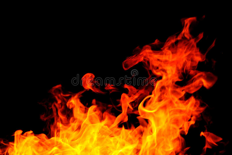 Fire. Background with bright vivid flame on black background