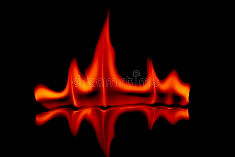 Fire. Flames in black background stock image
