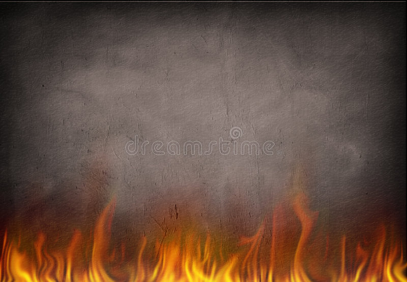 Fire. Burns with wall behind royalty free illustration