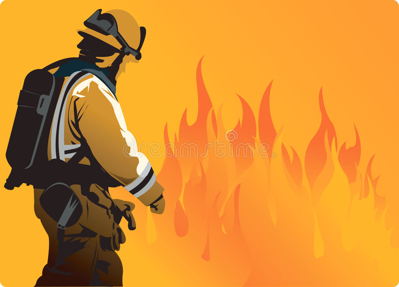 Fire. A fire fighter moving towards heavy flame to extinguish fire vector illustration