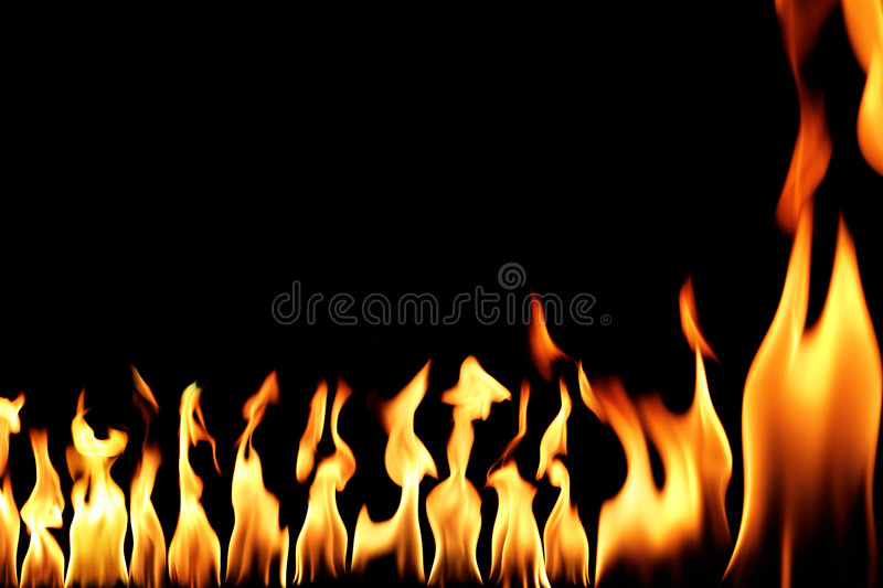 Fire. Conceptual fire flame in black royalty free stock photo