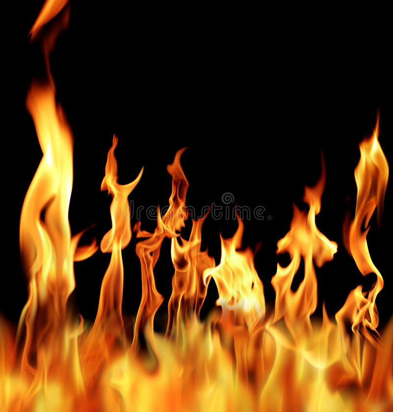Fire. Actual photographs of fire flames over black royalty free stock photos