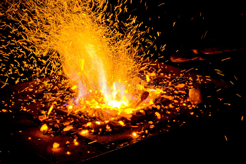 Fire. Flames of fire in the smithy stock images