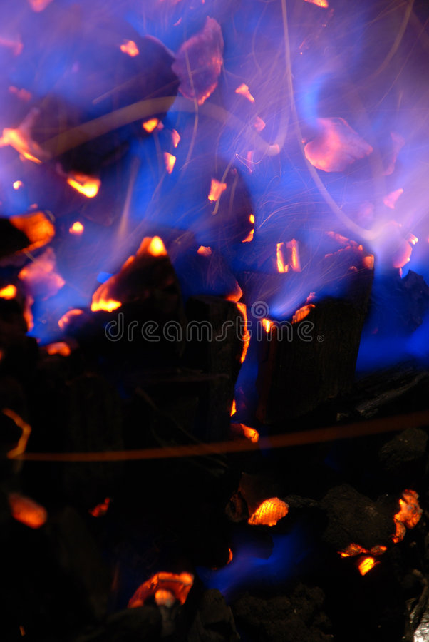 Fire. Of hot blue and white flames stock photo