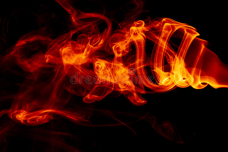 Fire abstract. Abstract fire or smoke against black royalty free stock photo