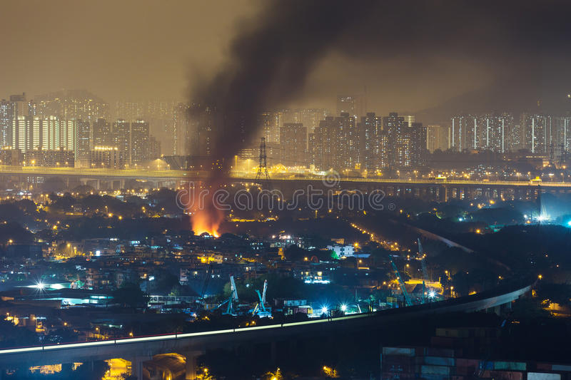 Fire accident in city. At night royalty free stock photos