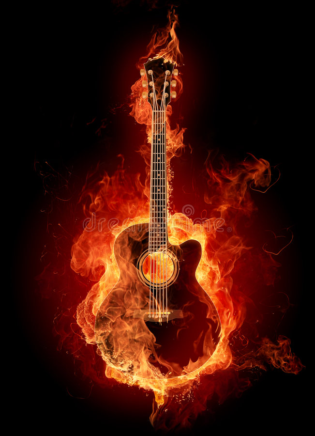 Fire acoustic guitar vector illustration