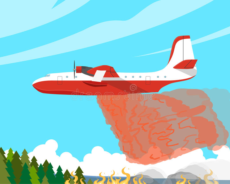 The fire aircraft. A fire plane extinguishes a forest fire high in the mountains. Vector illustration royalty free illustration
