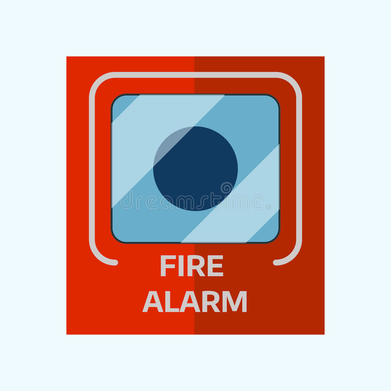 Fire alarm box on wall for warning security wall bell button evacuation protection push vector illustration. stock illustration