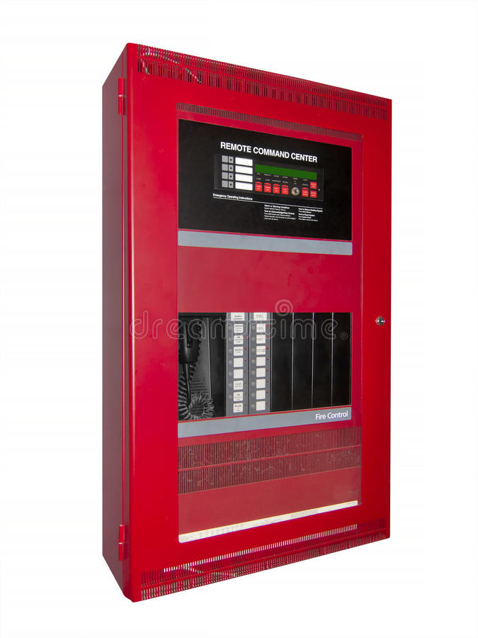 Fire alarm control box, isolated. Red fire alarm control box used in office buildings, airports and other large complexes royalty free stock photography
