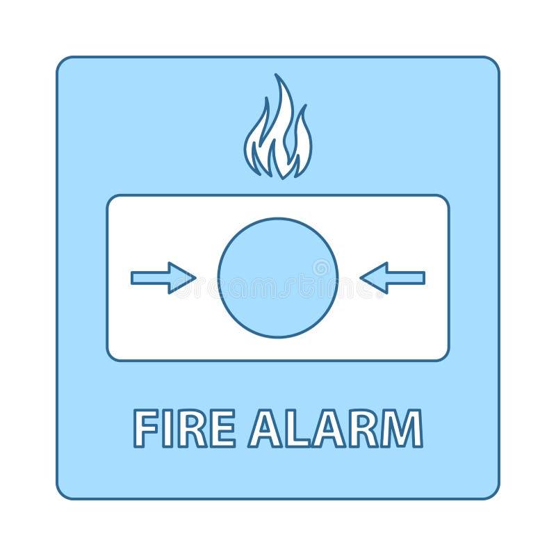 Fire Alarm Icon. Thin Line With Blue Fill Design. Vector Illustration stock illustration