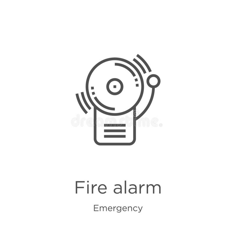 Fire alarm icon vector from emergency collection. Thin line fire alarm outline icon vector illustration. Outline, thin line fire. Fire alarm icon. Element of vector illustration