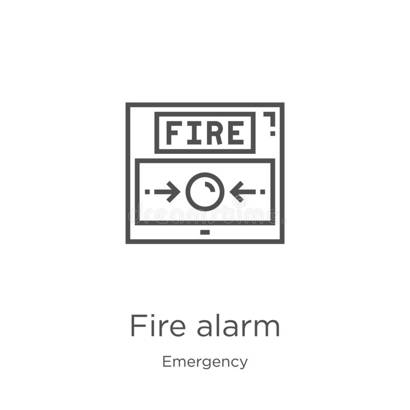 Fire alarm icon vector from emergency collection. Thin line fire alarm outline icon vector illustration. Outline, thin line fire. Fire alarm icon. Element of royalty free illustration