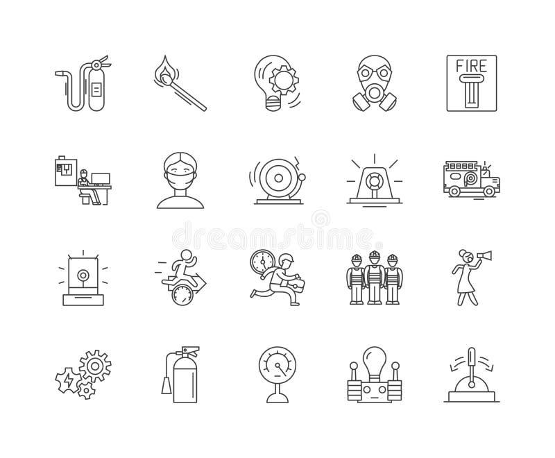 Fire alarm line icons, signs, vector set, outline illustration concept stock illustration