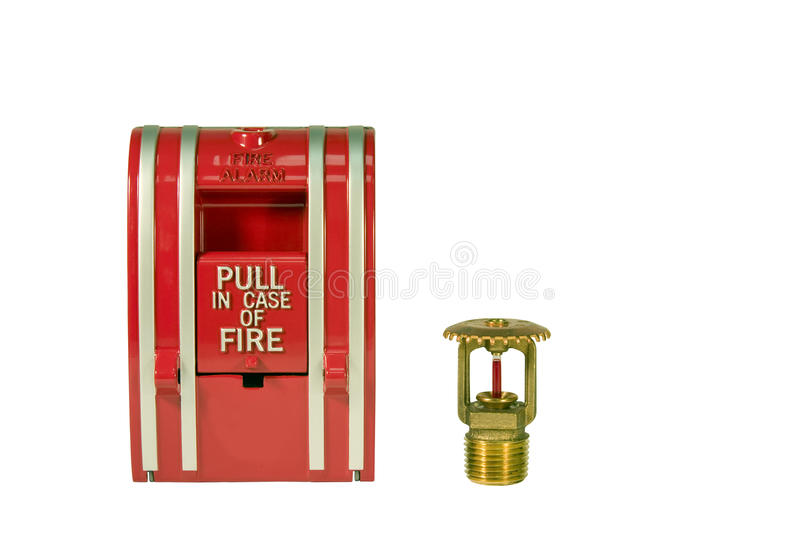 Fire alarm pull station and sprinkler. Valve isolated over a white background with a clipping path at original size stock photography